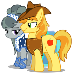 Size: 793x796 | Tagged: beautiful, braeble, braeburn, clothes, courtship, dress, female, handsome, hat, hearts and hooves day, holiday, looking at each other, male, marble pie, safe, shipping, shy, smiling, song reference, straight, valentine's day, vest, youtube link