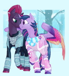 Size: 2850x3150 | Tagged: safe, artist:iceofwaterflock, tempest shadow, twilight sparkle, alicorn, pony, unicorn, armor, broken horn, clothes, colored wings, eye contact, eye scar, female, horn, hug, leg warmers, lesbian, looking at each other, mare, nuzzling, scar, scarf, shipping, smiling, snow, snowfall, spread wings, tempestlight, tree, twilight sparkle (alicorn), winghug, wings, winter
