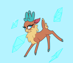 Size: 700x600 | Tagged: artist:machacapigeon, blue background, colored hooves, community related, deer, diamonds, female, lidded eyes, no pupils, reindeer, safe, simple background, solo, them's fightin' herds, velvet reindeer