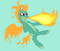 Size: 700x600 | Tagged: artist:machacapigeon, community related, fiery wings, fire, fire breath, longma, mane of fire, safe, slit eyes, solo, them's fightin' herds, tianhuo