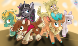 Size: 1789x1068 | Tagged: alpaca, arizona cow, artist:rainbow eevee, classical unicorn, cloven hooves, community related, cow, cute, deer, desert, fightin' six, lamb, leonine tail, longma, oleander, paprika paca, pom lamb, reindeer, safe, sheep, smiles, sun, them's fightin' herds, tianhuo, unicorn, unshorn fetlocks, velvet reindeer