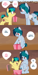 Size: 1238x2463 | Tagged: annoyed, artist:shinodage, box, cheering, chest fluff, chest freckles, clothes, comic, cute, dialogue, ear freckles, eye contact, eyes closed, female, filly, freckles, frown, grin, happy, holiday, hooves, how, lidded eyes, looking at each other, mare, mother and daughter, mouth hold, :o, oc, oc:apogee, ocbetes, oc:delta vee, open mouth, pegasus, pony, pony in a box, present, raised hoof, safe, sitting, smiling, speech bubble, spread wings, tanktop, up, wat, wide eyes, wings