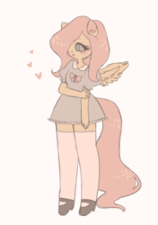 Size: 470x669   Tagged: safe, artist:xkittydollx, fluttershy, human, clothes, colored pupils, cute, dress, ear fluff, eared humanization, female, hair over one eye, heart, humanized, no catchlights, pastel, pony coloring, shyabetes, socks, solo, tailed humanization, winged humanization, wings