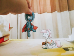 Size: 2048x1536 | Tagged: artist:sugar morning, cape, clothes, craft, irl, oc, oc:bizarre song, oc:sugar morning, papercraft, photo, poncho, pony, safe, sugarre
