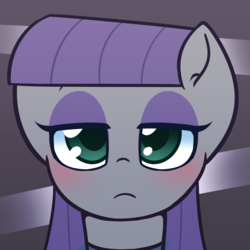 Size: 1000x1000 | Tagged: artist:puetsua, blushing, earth pony, female, looking at you, mare, maud pie, pony, safe, solo