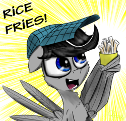 Size: 1500x1446 | Tagged: artist:chopsticks, cheek fluff, chest fluff, food, french fries, male, oc, oc:chopsticks, oc only, open mouth, pegasus, pony, rice, safe, solo, wing hands