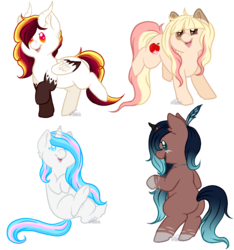 Size: 1500x1600 | Tagged: artist:aledera, chibi, earth pony, female, mare, oc, oc:apple blossom, oc:kiara, oc only, oc:rainbow lily, oc:sundawn gleam, pegasus, pony, safe, simple background, transparent background, unicorn