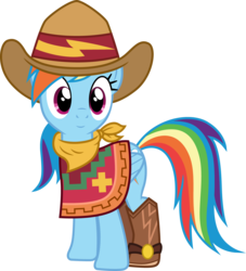 Size: 1362x1500 | Tagged: 28 pranks later, artist:cloudyglow, boots, clothes, cowgirl, cowgirl outfit, cute, dance magic, equestria girls, equestria girls ponified, equestria girls series, female, five to nine, hat, mare, pegasus, poncho, ponified, pony, rainbow dash, safe, shoes, simple background, smiling, solo, spoiler:eqg specials, transparent background, vector