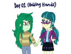 Size: 1500x1136 | Tagged: artist:ktd1993, equestria girls, female, holding hands, juniblush, juniper montage, lesbian, safe, shipping, wallflower blush