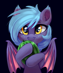 Size: 1972x2300 | Tagged: artist:taneysha, bat pony, bat pony oc, black background, cute, ear fluff, female, food, freckles, looking at you, oc, oc:little mine, oc only, safe, simple background, smiling, solo, watermelon, wings
