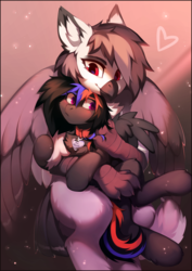 Size: 1266x1790 | Tagged: safe, artist:lispp, oc, oc only, oc:narcissa, oc:phase shift, griffon, pegasus, pony, be mine, beak, blushing, chest fluff, claws, collar, cuddling, cute, female, floppy ears, fluffy, flustered, freckles, grabbing, griffon oc, griffon on pony action, heart, holding, holding a pony, hug, interspecies, lesbian, long tail, name tag, oc x oc, pet play, pet tag, pony on griffon action, pony pet, shipping, size difference, smiling, snuggling, spread wings, tail feathers, talons, wings