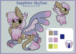 Size: 4093x2894 | Tagged: artist:tkitten16, hybrid, magical lesbian spawn, next generation, oc, oc:sapphire skyline, parent:gilda, parent:limestone pie, parents:gildastone, reference sheet, safe, signature, solo, wings
