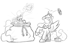 Size: 1280x768 | Tagged: alicorn, artist:captainhoers, blank stare, christmas presents, ethereal mane, female, glowing horn, grayscale, hoof shoes, levitation, lineart, magic, mare, monochrome, present, princess celestia, princess luna, royal sisters, sack, safe, santa sack, silly, starry mane, telekinesis, throwing