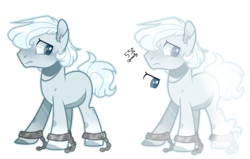 Size: 3389x2153   Tagged: safe, artist:jxst-alexa, oc, oc only, unnamed oc, earth pony, ghost, pony, chains, ear fluff, frown, male, shackles, simple background, solo, stallion, transparent background, white outline