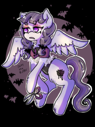 Size: 768x1024 | Tagged: safe, artist:jackytheripperart, inky rose, bat, pegasus, pony, beanbrows, chest fluff, colored pupils, eyebrows, female, leg fluff, mare, scissors, solo