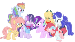 Size: 1280x727 | Tagged: alicorn, alternate design, alternate hairstyle, alternate universe, applejack, artist:bezziie, bomber jacket, clothes, fluttershy, glasses, jacket, mane six, pinkie pie, pony, rainbow dash, rarity, safe, simple background, starlight glimmer, swapped cutie marks, transparent background, twilight sparkle, twilight sparkle (alicorn)