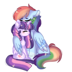 Size: 1024x1024 | Tagged: alicorn, artist:celestiai-moon, female, hug, lesbian, pony, rainbow dash, safe, shipping, simple background, sitting, transparent background, twidash, twilight sparkle, twilight sparkle (alicorn), winghug