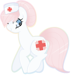 Size: 760x801 | Tagged: safe, artist:euphoriapony, nurse redheart, earth pony, pony, adoredheart, cute, female, hat, heart eyes, heartabetes, looking back, mare, nurse hat, simple background, solo, transparent background, wingding eyes