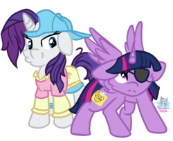 Size: 1221x998 | Tagged: alicorn, alternate hairstyle, artist:rainbow eevee, backwards ballcap, baseball cap, cap, cute, disguise, eyepatch, eyepatch (disguise), friendship university, hat, plainity, rarity, safe, simple background, spoiler:s08e16, spread wings, transparent background, twilight sparkle, twilight sparkle (alicorn), wings
