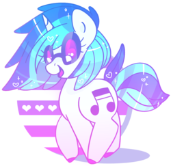 Size: 1042x1011 | Tagged: artist:euphoriapony, colored hooves, cute, dj pon-3, female, heart, mare, open mouth, pony, safe, solo, unicorn, vinylbetes, vinyl scratch