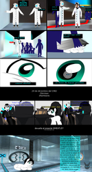 Size: 3300x6176 | Tagged: safe, artist:wheatley r.h., oc, oc only, oc:wheatley ii, oc:zaincard, earth pony, human, pony, angry, aperture science, blank flank, casserole, chair, close-up, clothes, comic, companion cube, dialogue, doctor who, drink, eye reflection, fear, fedora, gloves, green eyes, hair, hand, happy, hat, hide and seek, implied chrysalis, lab coat, laboratory, male, medic, messy hair, misspelling, old oc, old work, personality core, portal (valve), portal 2, reflection, shadow, smiling, spanish, spanish text, table, team fortress 2, test chamber, underground, vector, watermark, wheatley, wings