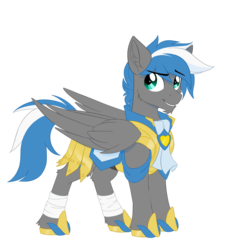 Size: 1024x1024 | Tagged: armor, artist:redchetgreen, bandage, cheek fluff, chin fluff, ear fluff, leg fluff, male, oc, oc:cloud zapper, oc only, pegasus, pony, royal guard, royal guard armor, safe, simple background, solo, stallion, transparent background