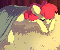 Size: 1280x1067 | Tagged: adorabloom, apple bloom, artist:renka2802, blanket, cute, ear fluff, earth pony, eyes closed, female, filly, hay bale, pony, prone, safe, signature, sleeping, solo