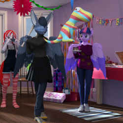Size: 2000x2000 | Tagged: safe, artist:tahublade7, twilight sparkle, oc, oc:bacon bits, oc:inkjet, alicorn, anthro, plantigrade anthro, 3d, alcohol, baseball bat, blindfold, bra strap, cake, clothes, daz studio, food, jeans, off shoulder, overalls, pants, party, piñata, skirt, socks, striped socks, sweater, twilight sparkle (alicorn), wine