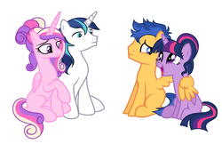 Size: 2377x1537 | Tagged: alicorn, alternate hairstyle, artist:heikichi, artist:velveagicsentryyt, base used, derpibooru exclusive, female, flashlight, flash sentry, hug, male, missing cutie mark, pegasus, princess cadance, safe, shining armor, shiningcadance, shipping, straight, twilight sparkle, twilight sparkle (alicorn), unicorn, winghug
