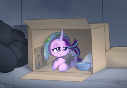 Size: 1889x1316 | Tagged: safe, artist:puetsua, starlight glimmer, pony, unicorn, blanket, cardboard box, clothes, depressing, female, headscarf, homeless, mare, sad, scarf, solo, trash