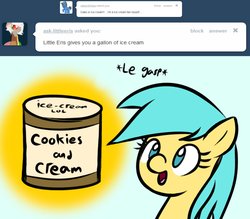 Size: 1280x1123 | Tagged: artist:datahmedz, ask, cookies and cream, food, ice cream, le gasp, pony, raindropsanswers, safe, solo, sunshower raindrops, tumblr