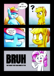 Size: 2890x4088 | Tagged: applejack, artist:mustachedbain, bruh, dialogue, earth pony, female, mare, pegasus, pony, rainbow dash, rarity, safe, speech bubble, unicorn