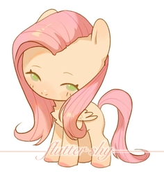 Size: 660x700   Tagged: safe, artist:djdespot, fluttershy, pegasus, pony, blushing, chest fluff, chibi, female, folded wings, head tilt, looking at you, mare, name, simple background, solo, standing, three quarter view, white background, wings