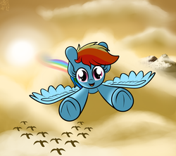 Size: 4000x3550 | Tagged: artist:kimjoman, bird, cloud, cloudy, cute, dusk, female, flying, looking at you, mountain, outdoors, pegasus, pony, rainbow, rainbow dash, safe, sky, solo, solo female, spread wings, sunset, wings
