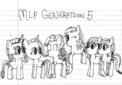 Size: 623x437 | Tagged: safe, artist:nightshadowmlp, applejack, fluttershy, pinkie pie, rainbow dash, rarity, twilight sparkle, earth pony, pegasus, pony, unicorn, applejack (g5), earth pony twilight, female, fluttershy (g5), g5, lined paper, mane six, mane six (g5), mare, pegasus pinkie pie, pinkie pie (g5), race swap, rainbow dash (g5), rarity (g5), text, traditional art, twilight sparkle (g5), unicorn fluttershy