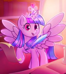 Size: 1493x1678 | Tagged: safe, artist:stratodraw, twilight sparkle, alicorn, pony, book, crown, female, jewelry, mare, open mouth, quill, regalia, smiling, solo, twilight sparkle (alicorn)