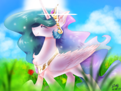 Size: 1024x768 | Tagged: alicorn, artist:emuuanne, beautiful, cloud, female, flower, grass, jewelry, mare, pony, princess celestia, regalia, safe, signature, sky, smiling, solo