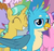 Size: 375x351 | Tagged: safe, screencap, auburn vision, berry blend, berry bliss, citrine spark, fire quacker, gallus, silverstream, griffon, pony, unicorn, teacher of the month (episode), spoiler:interseason shorts, chest fluff, cute, female, friendship student, gallabetes, male, offscreen character, quackerdorable, smiling, wings