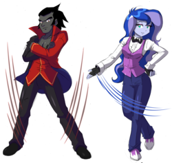 Size: 3264x3096 | Tagged: artist:danmakuman, equestria girls, equestria girls-ified, female, king sombra, lumbra, male, princess luna, safe, shipping, straight, vice principal luna