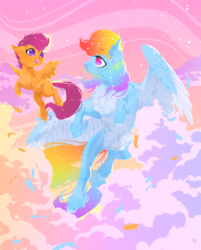 Size: 1083x1350 | Tagged: safe, artist:rossignolet, rainbow dash, scootaloo, pegasus, pony, belly fluff, cheek fluff, chest fluff, cloud, cute, duo, ear fluff, eye contact, feather, female, filly, floppy ears, fluffy, flying, gradient eyes, happy, hoof fluff, leg fluff, looking at each other, mare, neck fluff, no pupils, scootaloo can fly, shiny, sky, smiling, spread wings, starry eyes, unshorn fetlocks, wing fluff, wingding eyes, wings