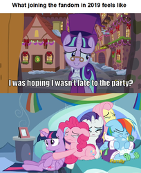 Size: 837x1024 | Tagged: a hearth's warming tail, alicorn, caption, crying, edit, edited screencap, end of ponies, fluttershy, image macro, late fan, late join, pinkie pie, rainbow dash, rarity, sad, safe, screencap, snowfall frost, starlight glimmer, tank, tanks for the memories, twilight sparkle, twilight sparkle (alicorn)