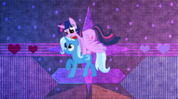 Size: 1652x928   Tagged: safe, artist:laszlvfx, artist:the smiling pony, edit, trixie, twilight sparkle, alicorn, pony, cute, female, flower, lesbian, mare, mouth hold, ponies riding ponies, raised hoof, rose, shipping, twilight sparkle (alicorn), twixie, wallpaper, wallpaper edit
