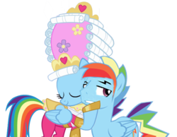 Size: 696x540 | Tagged: safe, artist:kayman13, artist:trotsworth, rainbow dash, pony, swarm of the century, blushing, clothes, dashblitz, dashie antoinette, dress, embarrassed, female, holding head, i love you, love, male, powdered wig, rainbow blitz, rainbow dash always dresses in style, rule 63, self ponidox, selfcest, shipping, simple background, straight, transparent background, wig