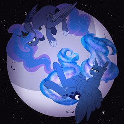 Size: 3150x3150 | Tagged: safe, artist:liefsong, artist:passigcamel, princess luna, alicorn, pony, collaboration, constellation, ethereal mane, female, full moon, hoof shoes, lidded eyes, mare, moon, self ponidox, smiling, starry mane, tangible heavenly object