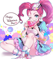 Size: 1350x1500   Tagged: safe, artist:aruba, pinkie pie, coinky-dink world, eqg summertime shorts, equestria girls, equestria girls series, abstract background, adorasexy, alternate hairstyle, anime, apron, beautiful, boots, box of chocolates, chocolate, clothes, cute, cute little fangs, daaaaaaaaaaaw, dialogue, diapinkes, dress, eyelashes, fangs, female, food, frilly dress, hair tie, hat, heart, hnnng, holiday, legs, looking at you, minidress, moe, one eye closed, outline, pixiv, ponytail, poofy shoulders, schrödinger's pantsu, server pinkie pie, sexy, shoes, sitting, skirt, smiling, solo, speech bubble, stray strand, thighs, uniform, upskirt denied, valentine's day, waitress, wink