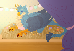 Size: 2600x1800 | Tagged: safe, artist:glitchthunder, gallus, griffon, birds doing bird things, brooding, curtain, egg, eyes closed, flower, fluffy, griffons doing bird things, implied gallstream, interspecies offspring, male, nest, offspring, parent:gallus, parent:silverstream, parents:gallstream, solo
