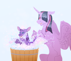 Size: 2154x1856 | Tagged: alicorn, artist:glitchthunder, bath, bathing, bathtub, curved horn, dracony, duo, eyes closed, female, floppy ears, horn, hybrid, interspecies offspring, mare, oc, offspring, parent:spike, parents:twispike, parent:twilight sparkle, pony, safe, simple background, splashing, spread wings, twilight sparkle, twilight sparkle (alicorn), wet mane, white background, wings