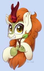Size: 934x1500 | Tagged: safe, artist:puetsua, autumn blaze, kirin, sounds of silence, autumn blaze's puppet, awwtumn blaze, blue background, bust, chest fluff, cloven hooves, cute, ear fluff, female, fluffy, grin, looking at you, signature, simple background, smiling, solo, squee, teeth, unshorn fetlocks