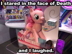 Size: 1024x768 | Tagged: adoracreepy, animatronic, brushable, caption, creepy, cute, edit, end of ponies, giggles, giggling, grimcute, happiness, happy, hope, image macro, interactive, irl, optimism, photo, pinkie pie, pony, safe, scary, text, tickling, toy, toy fair, toy fair 2019