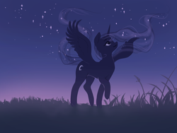 Size: 2000x1500 | Tagged: alicorn, alternate color palette, alternate cutie mark, artist:katputze, beautiful, cute, ethereal mane, female, looking up, lunabetes, mare, night, night sky, pony, princess luna, safe, sky, smiling, solo, starry mane, stars